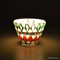 Handmade Mosaic White Glass Candle Holder Holidays Decorations