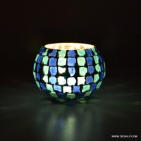 BLUE MOSAIC GLASS CANDLE VOTIVE