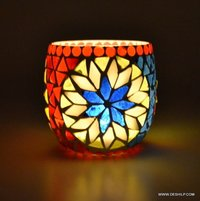 Multi Color Changing Flame Designer Paper Votive Handcrafted Traditional Design Glass