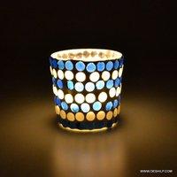 Blue and White Color Changing Flame Designer Votive Holder
