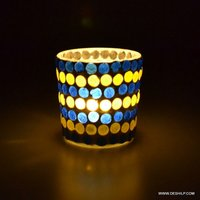 Blue Mosaic Color Changing Flame Designer Paper Votive Holder