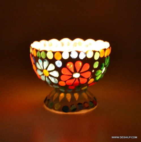 Ice Cup Shape Mosaic Glass Candle Holder Home Decor Gift
