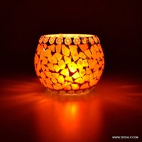 ORANGE COLOR MOSAIC GLASS CANDLE VOTIVE