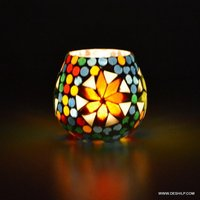 Traditional Design Glass Diya Candle Holder Room Decor