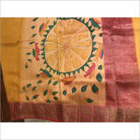 Ladies Designer Pure Tussar Hand Painted Sarees
