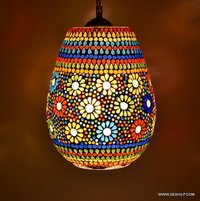 Vintage Antique Mosaic Hanging Lamps Handcrafted Colourful Glass Hanging