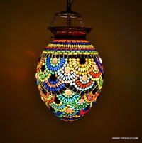 EGG SHAPE GLASS MOSAIC NIGHT LAMP