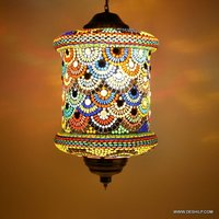 Red Hanging Glass Chandelier Mosaic Home Decor Night Lamp
