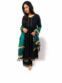 Black Gota Suit WIth Contrast Dupatta