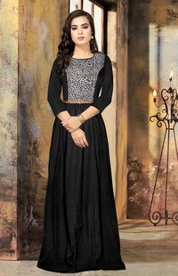 Ladies leopard printed black gown
