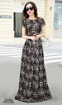 Designer party wear leopard printed gown for ladies