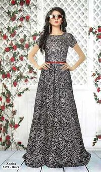 Exclusive party wear leopard printed long gown