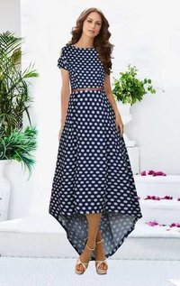 Exclusive latest designer blue dot gown