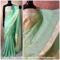 Designer Pure Linen Sarees