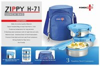 POWER PLUS ZIPPY LUNCH BAG- 3 CONTAINERS (METAL)