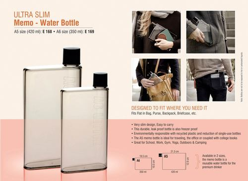 "ULTRA SLIM ""MEMO"" WATER BOTTLE A5 SIZE (420 ML)"