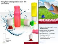 POWER PLUS TRENDY WATER BOTTLE: UPSIDE DOWN DESIGN (WITH BUILT-IN CUP)