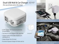 POWER PLUS WALL AND CAR CHARGER- DUAL USB