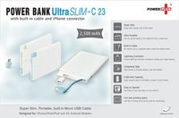 ULTRA SLIM POWER BANK (WITH BUILT-IN CABLE AND IPHONE CONNECTOR) (2,500 MAH)