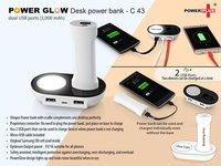 POWERGLOW DESK POWER BANK WITH DUAL USB PORTS (3,000 MAH)