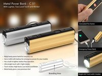 METAL POWER BANK WITH LIGHTER, TWO LEVEL TORCH AND BLINKER