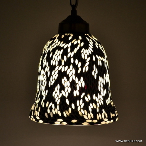Black & White Mosaic Unique Handcrafted Hanging Lamp Chandelier Hanging