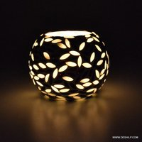 Mosaic Glass Hurricane Candle Holder Diwali Candle Votive Decorative Shape