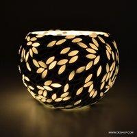 Black & White Mosaic Glass Tealight Votive Candle Holder