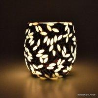 Mosaic Glass Hurricane Candle Holder Diwali Candle Votive Holder