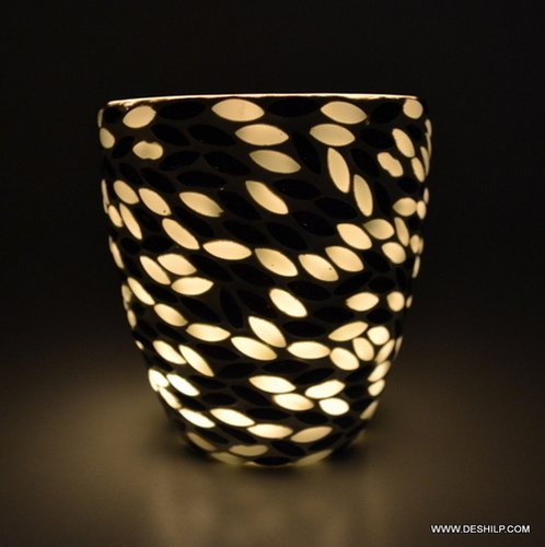 Long Glass Mosaic Candle Votive Holder