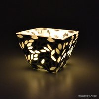Black& White Mosaic Glass Candle Votive Holder