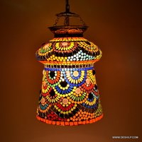 DECOR AND ANTIQUE GLASS MOSAIC WALL LAMP