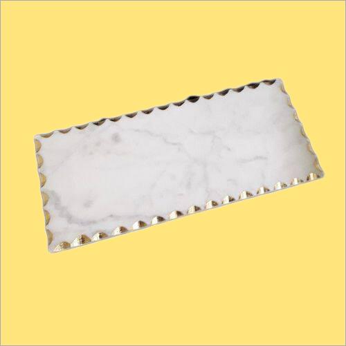 White Marble Platter Gold Edges