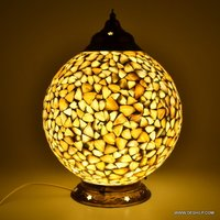MOTHER OF PEARLS GLASS TABLE LAMP WITH METAL FITTING