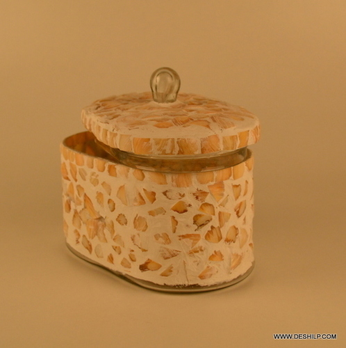 MOTHER OF PEARLS GLASS JAR WITH LID
