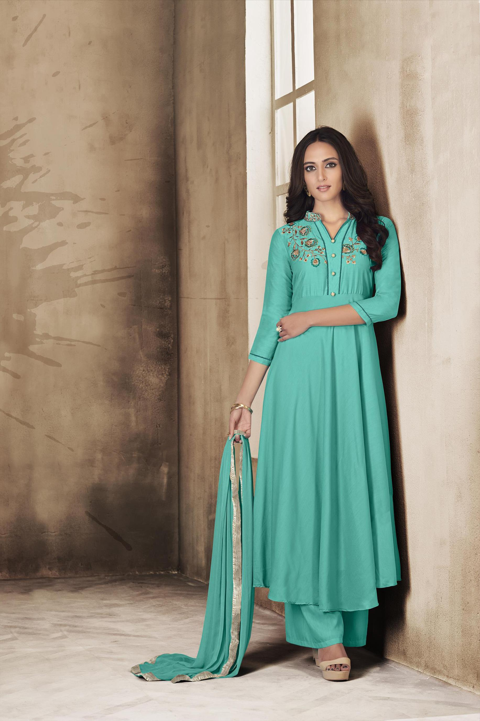 Elegent Readymade Embroidered Palazoo Suit