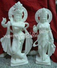 White Marble Radhe Krishna Statue