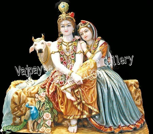 Marble Radhe Krishna Statue With Cow