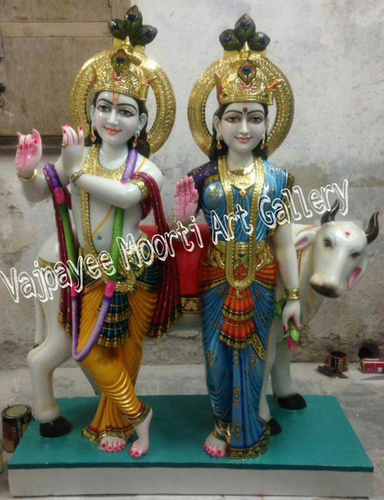 Radhe Krishna Marble Statue With Cow