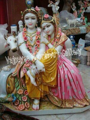 Lord Radhe Krishna Marble Statue With Cow