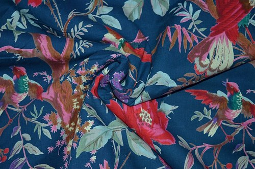 Blue Color Base Bird Printed 100% Cotton Fabric