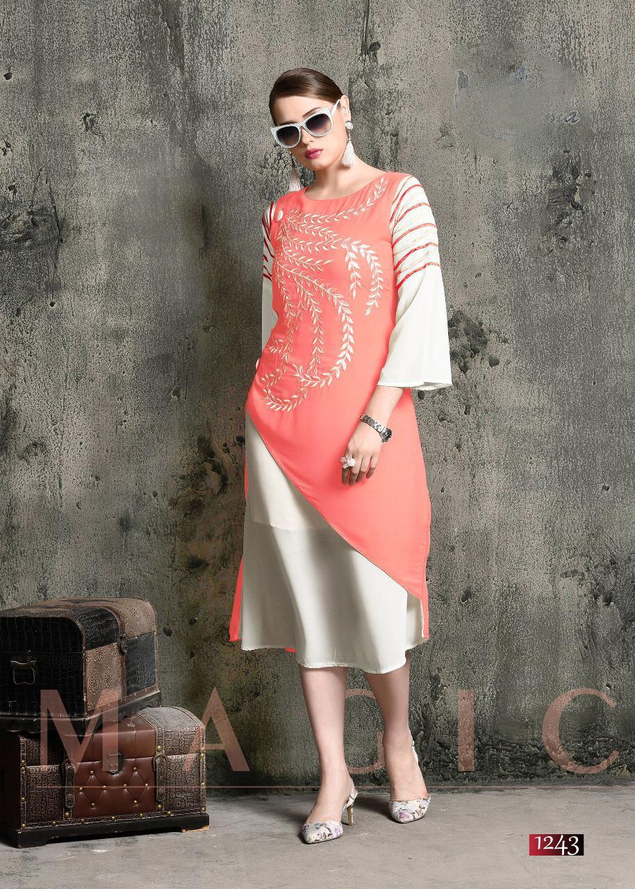 Stylish Embroiderd Georgette and Rayon Kurti
