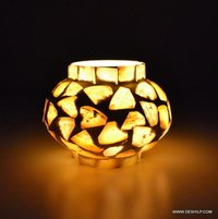 SML SEAP GLASS T LIGHT CANDLE VOTIVE