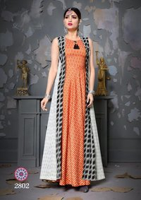 Trendy Gown Style Printed Rayon Kurti