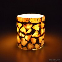DECOR GLASS MOTHER OF SEAP CANDLE HOLDER