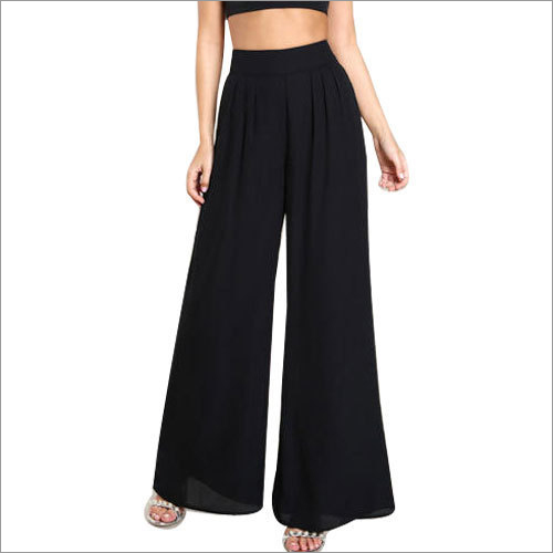 Ladies Black Rayon Palazzo Pants