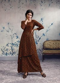 Stylish Long Dress Rayon Fabric