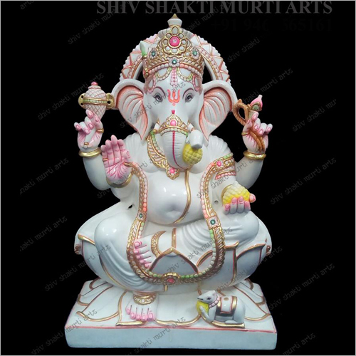 Lord Ganesha Polished Marble Statue