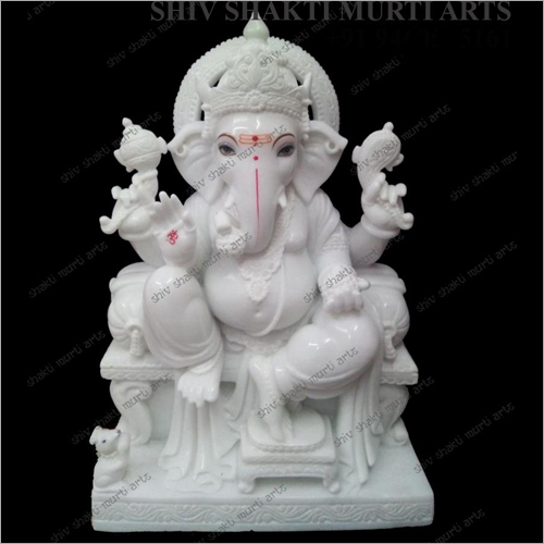 White Marble Polished Ganesha Statue