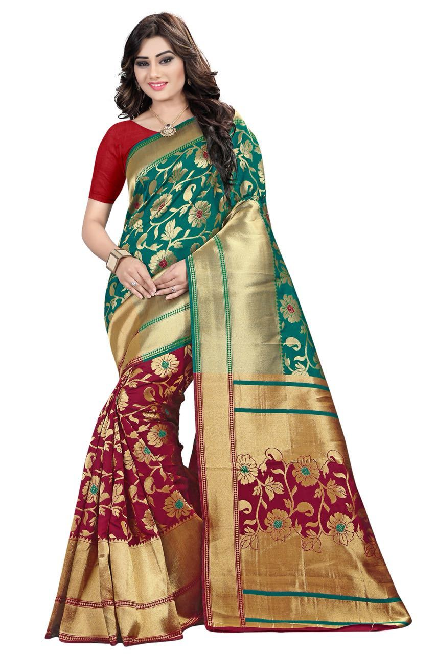 Trendy Partywear Banarasi Silk Saree